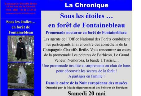 Promenade nocturne en forêt de Fontainebleau, le Samedi 20 Mai 2017, de 21H00 à…